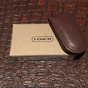 NWOT Coach Brown Leather Money Clip
